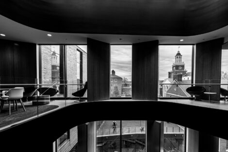 Black and White image looking out of the fifth floor windows of Rockwell Integrated Science Center at Watson Hall.