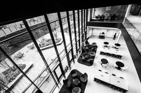 An aerial view of the dining and communal study area of RISC.