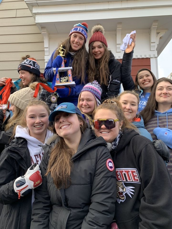 Members of Lafayette ski club with trophy