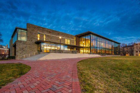 Skillman Library at night