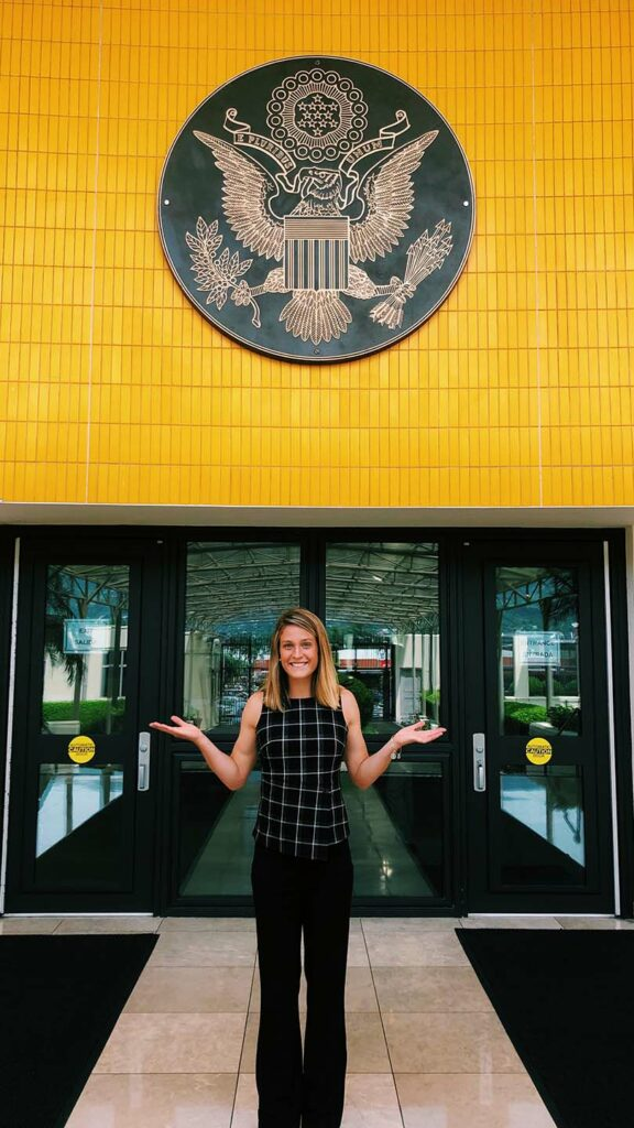 Joslyn Brodfuehrer '20 at her internship at the Department of State at the U.S. Embassy in Costa Rica.