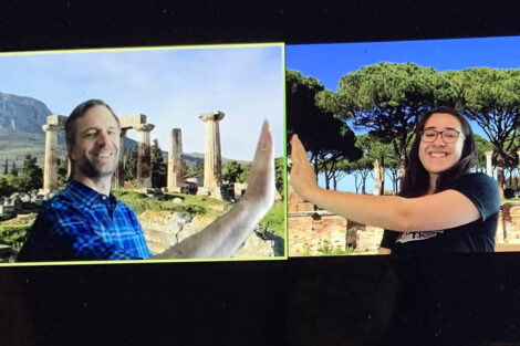 Professor Dubischar and Rosie Rivera '20 virtually high-five through a Zoom video call