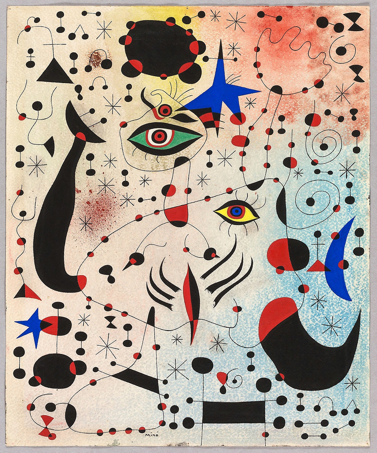 Lily Bedell '22 recreates Joan Miró's Ciphers and Constellations, in Love with a Woman, 1941, gouache and oil paint on canvas, The Art Institute of Chicago.
