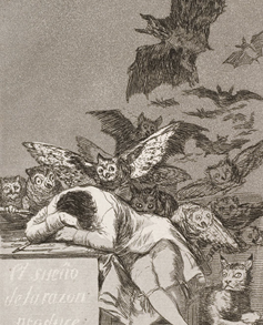Eric Hupe as Francisco Goya's The Sleep of Reason Produces Monsters, 1797-1799, etching, aquatint, drypoint.