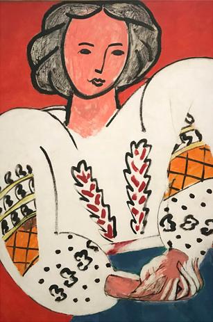 Lauren Ameruoso '21 as Henri Matisse's La Blouse Roumaine, 1940, oil on canvas.