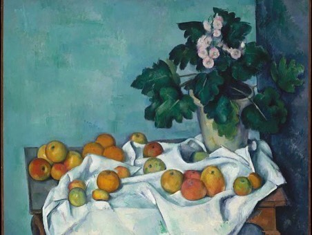 Jennifer Zhu '22 recreating Paul Cézanne's Still Life with Apples and a Pot of Primroses, c. 1895, Metropolitan Museum of Art, New York.