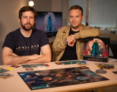 Gregory Dietz '13 (left) and his business partner Josh Pollack enter the global board game market with SYNDICATE: An Interplanetary Conquest Board Game.