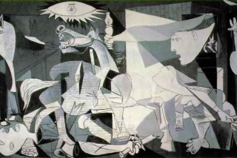 Picasso's Gunerica painted in 1937 is a moving anti-war protest.