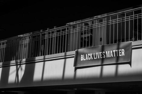 A Black Lives Matter sign inside of Farinon College Center