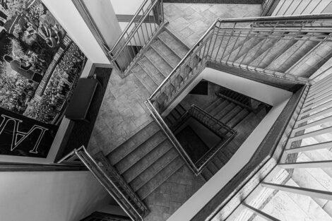 Staircase inside of Farinon College Center