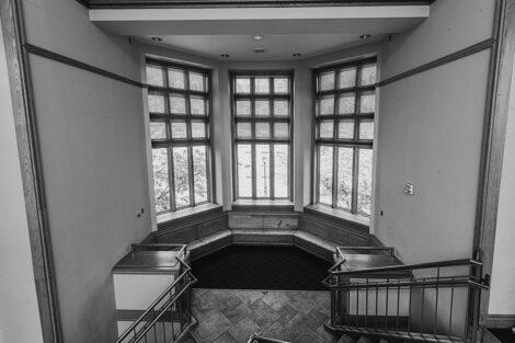 Windows inside of Farinon College Center