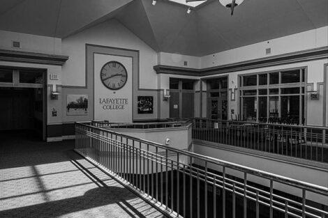 Clock inside of Farinon College Center