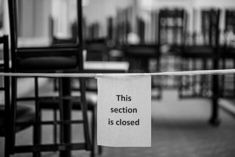 A sign reads this section is closed inside of Farinon College Center