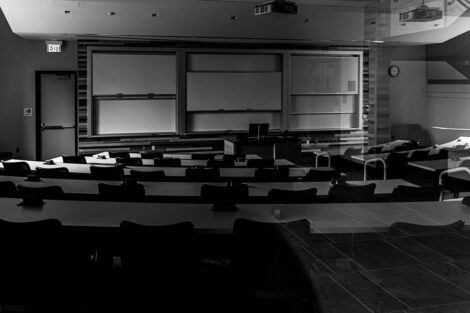 An empty classroom in Oechsle Center for Global Education