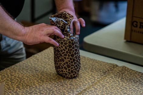 gift wrapping in leopard paper