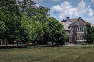 The Quad, Hogg Hall, Trees, Summer , Green Grass, Blue Sky,