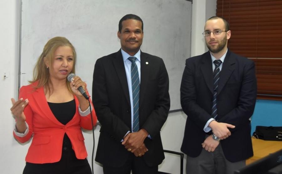 (L-R) Raysa Vasquez, professor of computer science at Universidad Autónoma de Santo Domingo, Radhamés Silverio, dean, Faculty of Sciences at Universidad Autónoma de Santo Domingo, and Christian Lopez, assistant professor of computer science at Lafayette College.