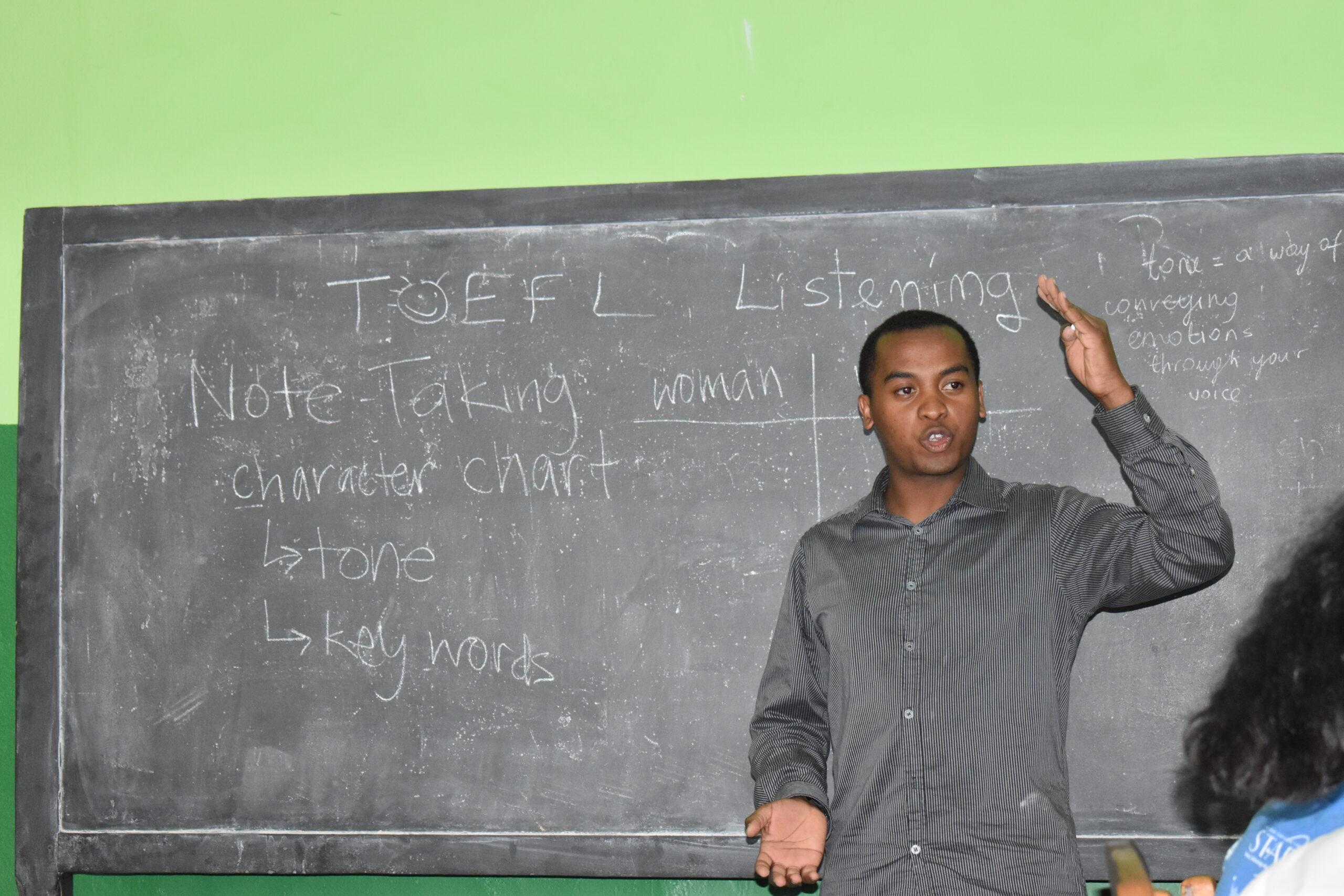 Tafita Rakotozandry '22 teaches a group of LIME mentees at their high school in Madagascar.
