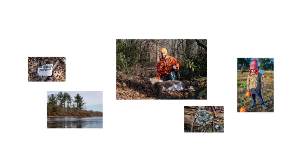 a grouping of photos that show nature and a man with a recently shot deer