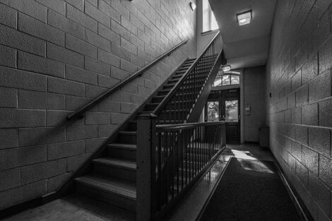 Black and white image of a stairwell in Pardee Hall.