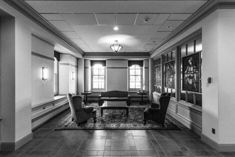 Black and white image of the lobby of Pardee Hall.