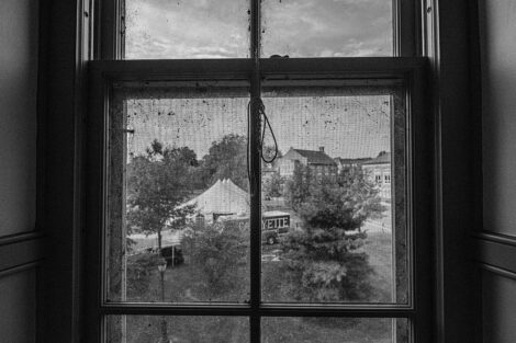 Black and white photograph of the Quad from a window of Pardee Hall