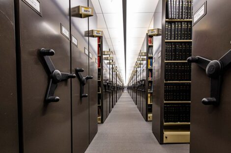 Rows of revolving book cases in Skillman Library