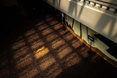 Light reflects onto the carpet in a checkerboard pattern at the Williams Center for the Arts