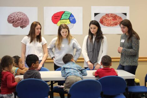 Four students engage kindergarteners in discussion on the brain