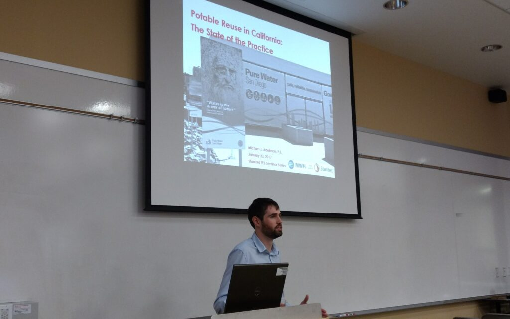 Michael Adelman '10 gave a presentation recently about potable water reuse.