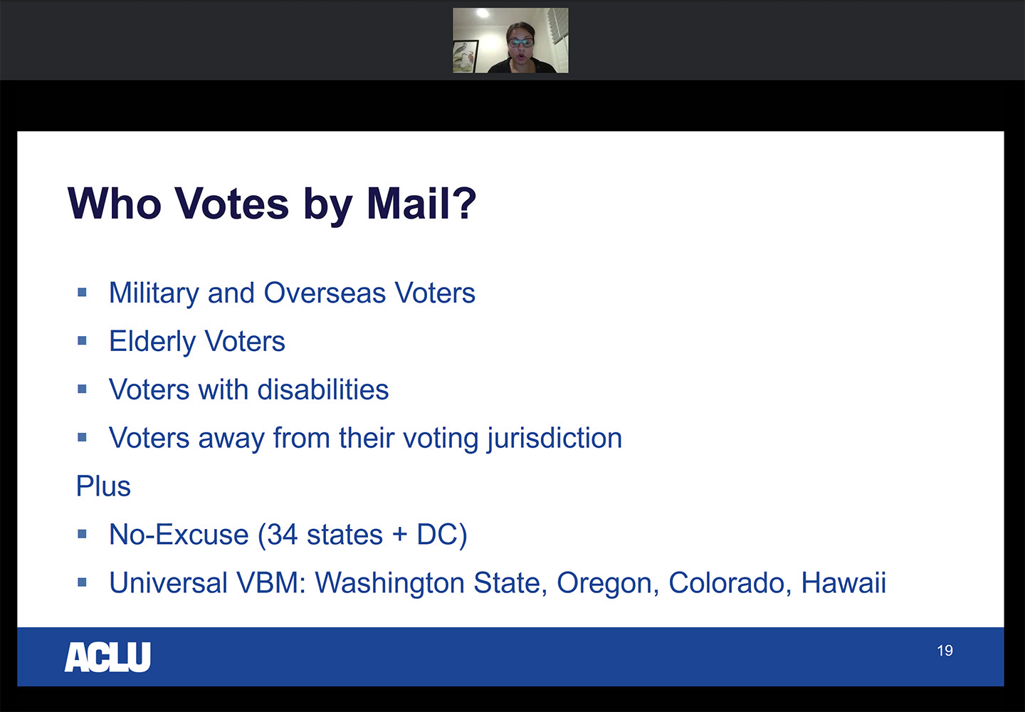 Who Votes By Mail? screenshot with Sonia Gill