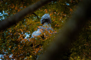 fall leaves and the statue of the Marquis