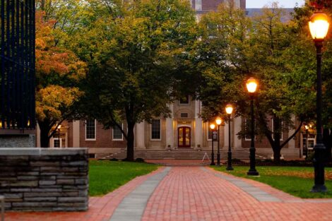 Lamps light the path to Markle Hall