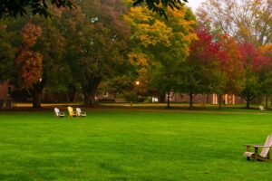 empty chairs on the Quad with fall foliage