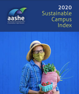 Cover of the AASHE sustainability report with Lisa Miskelly on the cover