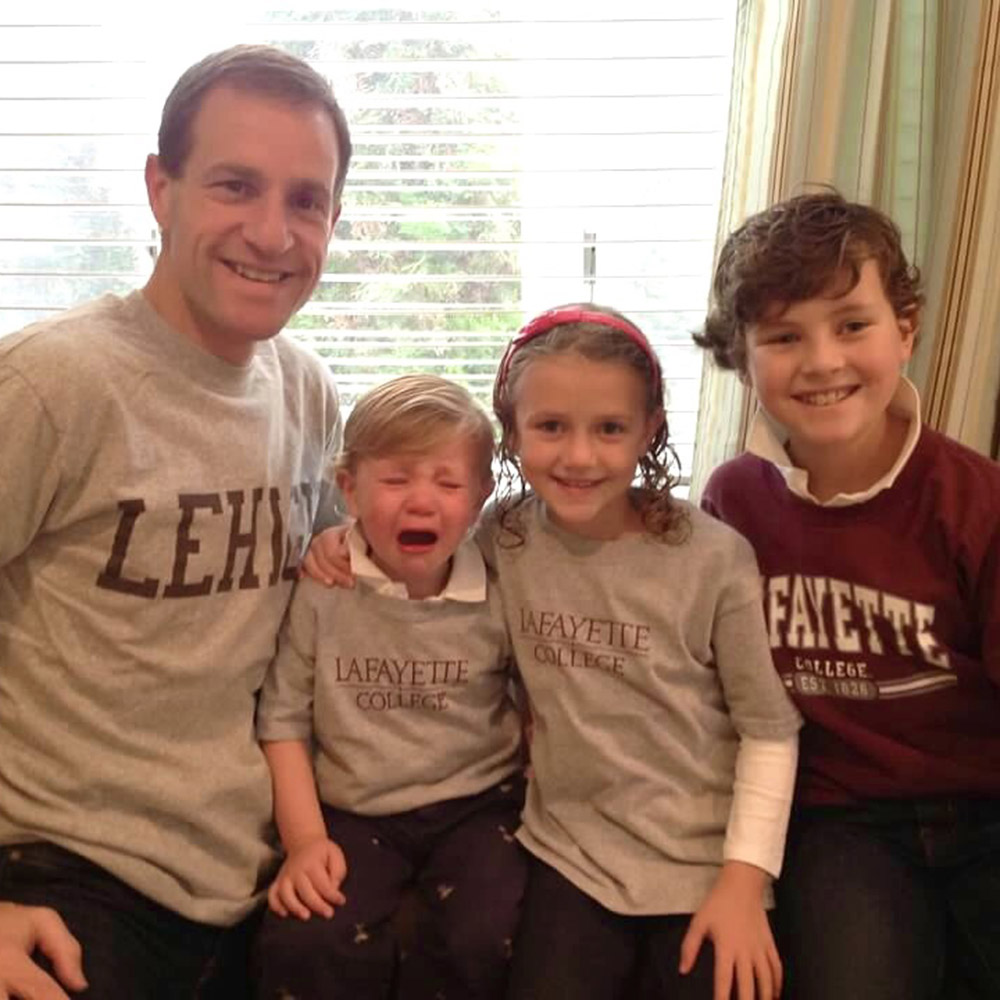 Lisa Pisano's family dressed in Lafayette gear