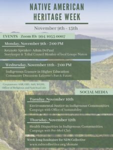 Schedule for Native American Heritage Week