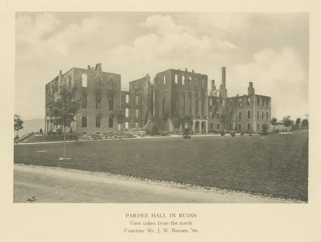 Aftermath of Pardee Hall fire, 1879