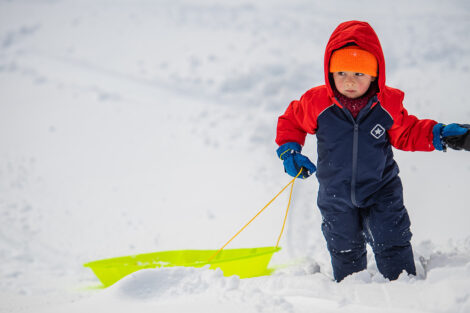 a young child drags a sled through the snow on campus