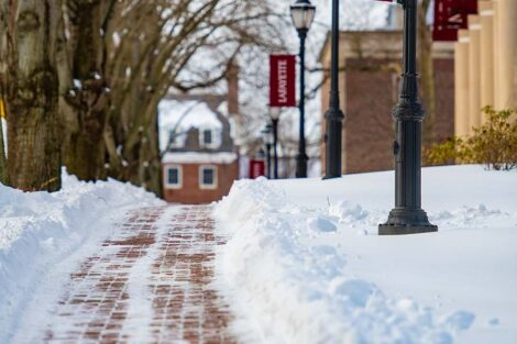 a walkway that has been shoveled from snow in front of Markle Hall