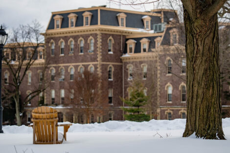 snow covers the Quad near Pardee Hall