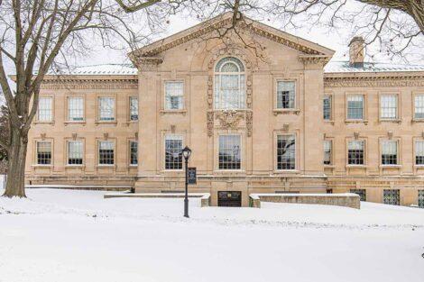 snow covers the ground near Kirby Hall
