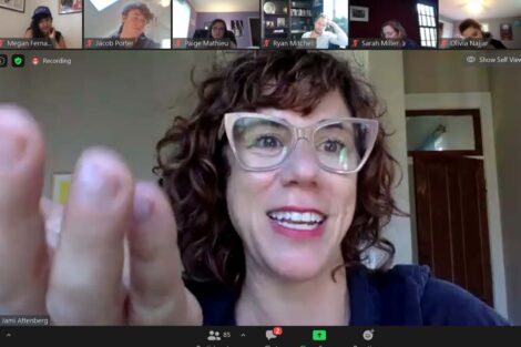 Jami Attenberg on a Zoom call