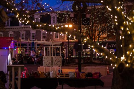 holiday lights in downtown Easton