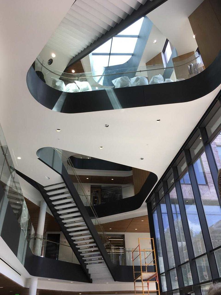 The ribbon-like staircase is one of the many distinguishing design details in Rockwell Integrated Sciences Center at Lafayette College
