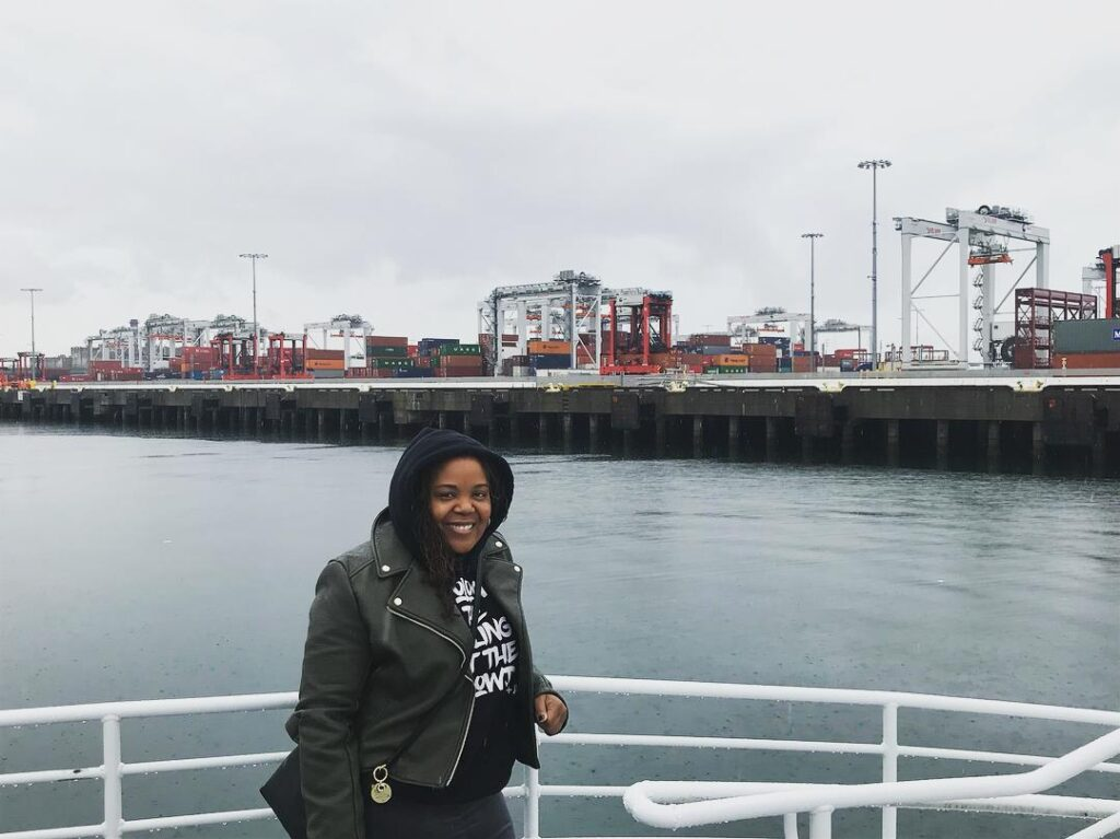 Brtiney McCoy '05 at Port of Los Angeles as part of her work at EPA.