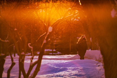A masked student walks in the sunshine, surrounded by bare trees and the snow.