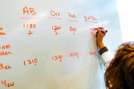 Prof. Nancy Waters writes data on a white board