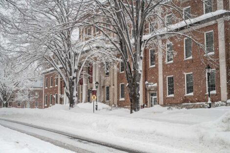 Markle Hall covered in a blanket of snow
