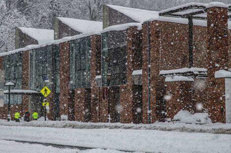 William Visual Arts Building in the snow
